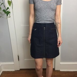 THEORY Denim Dark Zipper Front Midi Simple Skirt